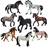 8PCS Big Horse Mare and Stallion Toy Figures, Plastic Horse Figurines, Horse Animal Toys for Girls and Boys, Horse Club Cake