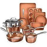 Gotham Steel Hammered Copper Collection – 15 Piece Premium Cookware & Bakeware Set with Nonstick Coating, Aluminum Compositio
