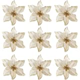 20 PCS Xmas Glitter Artificial Flowers Ornaments Decorations for Christmas Tree Wreaths Party Wedding Gold