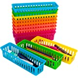 YAOYUE 12 Pack Pencil Basket Trays with 100 Pcs Paper Clips,Colorful Classroom Pencil Marker Crayon Holder Organizer Baskets