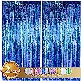 DOLM 2 Pack Foil Fringe Curtain,Blue Tinsel Metallic Curtains Photo Backdrop for Wedding Engagement Bridal Shower Birthday Ba