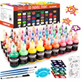 Fabric Paint, 45 Colors 3D Fabric Permanent Paint with 3 Brushes 1 Palette 1 Fabric Pen 1 Fabric sheet 4 Stencils, Glow in Th