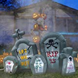 RETRO JUMP 6.6 Ft Halloween Inflatables Tombstone Combo Blow up Spooky Gravestone Holiday Lighted Decoration Headstone for In