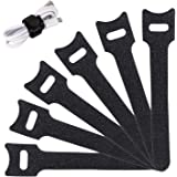 Reusable Cable Ties Management Straps -(20 Piece) 6 Inch Strong &Microfiber Fastening Cloth, Adjustable Fastener Cable Strap