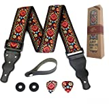 Guitar Strap Embroidered Red Vintage Woven W/FREE BONUS- 2 Picks + Strap Locks + Strap Button. For Bass, Electric & Acoustic