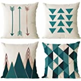 YeeJu Set of 4 Geometric Decorative Throw Pillow Covers Cotton Linen Square Cushion Covers Outdoor Couch Sofa Home Pillow Cas