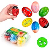 Funky Egg Shakers Maracas for Kids - 6 Pack - Natural, Wooden Musical Toy Percussion Instruments - Fun basket Stuffers - Colo