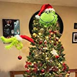 NIGHT-GRING Furry Green Head for Christmas Tree Decorations, Grinch Tree Topper, Dr. Seuss The Grinch Ornaments, Christmas Tr