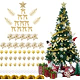 Sunnyglade 94 PCS Christmas Tree Ornaments Set Artificial Poinsettia Flowers & Christmas Bling-Bling Hanging Decoration for X