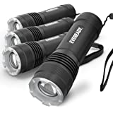 EVEREADY LED Tactical Flashlight, IPX4 Water Resistant EDC Flashlight, Rugged and Bright for Outdoor Activity, Zoomable, 3 Li