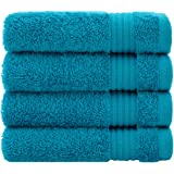 Luxury Turkish Cotton Washcloths for Easy Care, Extra Soft & Absorbent, Fingertip Towels, 4 Pack Washcloth Set by United Home