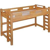 業務用可 ロフトベッド GSOLID 耐荷重400kg (梯子なし 高さ139cm 長さ222cm(ロング), ライトブラウン)