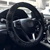 Labbyway Universal Car Plush Steering Wheel Cover, Available for 14 1/2 Inch to 15 Inch Fit, Breathable,Anti-Slip(Black)