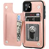 iPhone 11 Wallet Case with Card Holder,OT ONETOP PU Leather Kickstand Card Slots Case,Double Magnetic Clasp and Durable Shock