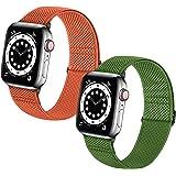 Neoxik コンパチブルApple Watchソフトナイロン編組弾性バンド交換ベルト 耐衝撃 防汗調整可能Apple Watch Series 6/5/4/3/2/1/SE対応 38mm/40mm/42mm/44mm アップルウォ (38/40mm