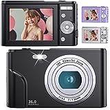 デジタルカメラ 子供用カメラ Anteam 3600万画素 HD1080P録画 16倍デジタルズーム 2.44インチIPS画面 ウェブカメラとして利用 手ぶれ補正/定時自撮り/3連写など 予備バッテリ*2 最大128GBのSDカード対応 日本語取扱説