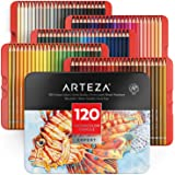 ARTEZA Professional Watercolor Pencils for Adults & Kids, Set of 120, Water-Soluble Colored Pencils for Coloring, Blending, L