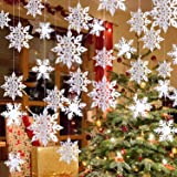 Winter Christmas Hanging Snowflake Decorations - 12PCS 3D Large White Snowflakes & 12PCS Paper Snowflakes Hanging Garland for