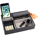 Mantello Leather Desktop Storage Organizer, Multi Catchall Tray, Valet Tray, Nightstand or Dresser Organizer - 5 Compartment