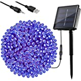 OxyLED Solar String Lights Outdoor, 72ft 200 LED Christmas Fairy String Lights Solar and USB Powered, 8 Modes Decorative Stri