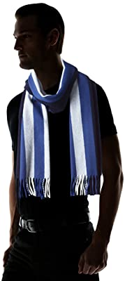 Wool Angora Stripe Scarf 11-45-0395-145: Navy / White