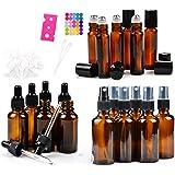 18 Amber Glass Essential Oil Bottles Pack - 6 amber glass eye dropper bottles (1 oz) - 6 amber glass sprayer bottles (2 oz) -