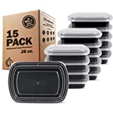 Freshware Meal Prep Containers [15 Pack] 1 Compartment Food Storage Containers with Lids, Bento Box, BPA Free, Stackable, Mic