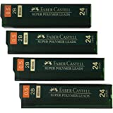 Faber-Castell 0.5 mm 2B Lead Refills Strong Dark Smooth Leads Mechanical Pencil Lead Refills (4 Tubes, 24 Leads Per Tube - To