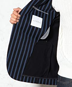 Cotton Polyester Stripe Blazer 3222-139-0258: Navy