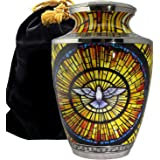 Holy Spirit Dove - Stained Glass Image - for Burial Funeral Niche Or Columbarium Adult Cremation Urn for Human Ashes - Adult