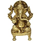 Hindu God Sculptures Sitting Statue of Ganesha Handmade Brass Figurine