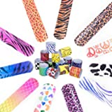 52 PCS Slap Bracelets Party Favors Pack with Diverse Pattern, Emoji, Animals, Heart Print Design, Retro Slap Wrist Bands for