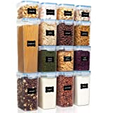 Vtopmart Airtight Food Storage Containers Set with Lids, 15pcs BPA Free Plastic Dry Food Canisters for Kitchen Pantry Organiz