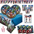 Avengers Birthday Party Supplies Set - Serves 16 - Includes Banner Decoration, Tablecover, Plates, Cups, Napkins, Tattoos and