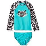 Amazon Brand - Spotted Zebra Toddler Girls' Swim Rashguard with Bottom