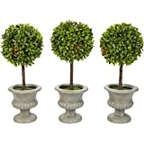 "Pure Garden Faux Boxwood– 3 Matching Realistic 12.5"" Tall-Round Topiary Arrangements in Decorative Urns for Indoor Home or Of"