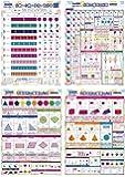 4枚セット LearnEASY 割合ポスター&分数計算 ・ 平面図形・ 立体図形バイリンガルポスター 1枚でわかる!算数ポスター