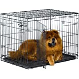 "New World 36"" Double Door Folding Metal Dog Crate, Includes Leak-Proof Plastic Tray; Dog Crate Measures 36L x 23W x 25H Inche"