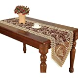 Simhomsen Burgundy Lace Table Runners and Dresser Scarves Embroidered Leaves 16 × 72 Inch