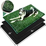 Dog Grass Pet Loo Indoor/Outdoor Portable Potty, Edging Artificial Grass Bathroom Mat for Puppy Training, 3 Layered System Tr