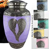 Loving Angel Wings - Niche, Burial, Columbarium or Funeral Adult Cremation Urn for Human Ashes, Brass, Lilac, Large