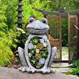 Garden Statue Frog Figurine - Waterproof Resin Succulent Plants with Solar Powered LED Lights for Halloween, Patio Yard Decor