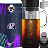 100% Airtight Cold Brew Glass Coffee Maker Iced Tea Maker Juice Water Carafe Server with Removable Permanent Double Mesh Stai