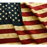 ANLEY® [Vintage Style] Tea Stained American US Flag 3x5 Foot Nylon - Embroidered Stars and Sewn Stripes - 4 Rows of Lock Stit