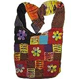 Happy Flowers Razor Cut Patchwork Sling, Crossbody Handbag Purse