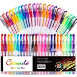 48 Pack Gel pens Set 24 Colored Gel Pen with 24 Refills, Fine Tip Glitter Gel pens with 40% More Ink for Kids Adults Coloring