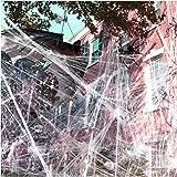 1000 sqft Halloween Spider Web Decorations, VIRIITA Super Stretch Fake Spider Webs, White Webbing Spooky Cobwebs Halloween Su