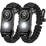 A2S Protection LEDway Paracord Bracelet Tactical Survival Gear Kit 6-IN-1-70% Larger Compass LED SOS Emergency Function Flash