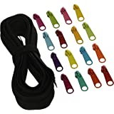 ByAnnie Zippers by Yard, Black with Multicolored pulls