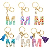 Hicarer 6 Pieces Resin Letter Keychains Set, Include 3 Pieces Cute Initial Resin Letter Keychains and 3 Pieces with Tassel Le
